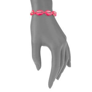 New!!  Neon Pink Shell Pull-Tie Bracelet